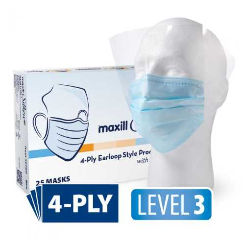 Maxill Silken 4P Earloop Style Procedural Mask With Anti-Fog Visor - Blue(25pcs/pk)