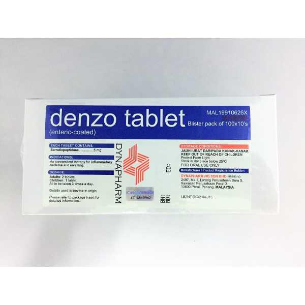 Denzo Tablets - Serratiopeptidase 5mg (1000 Tablets)