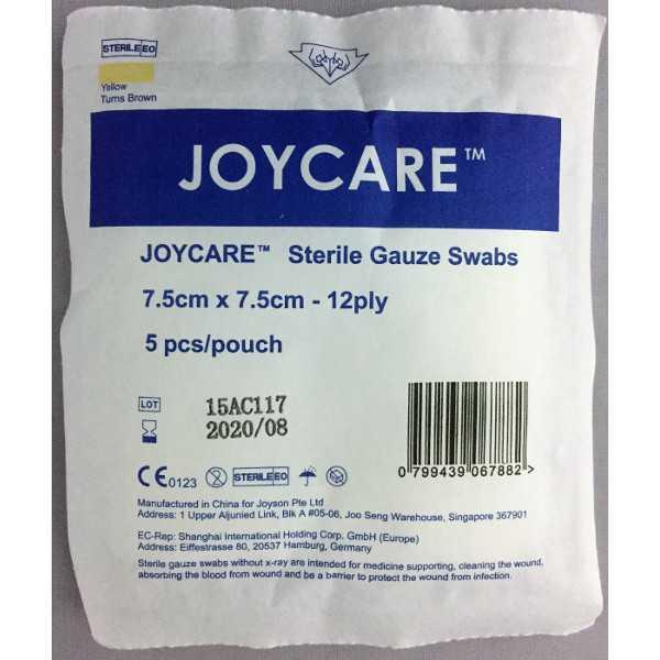 Sterile Gauze Swabs 7.5cm x 7.5cm x12ply (5's)