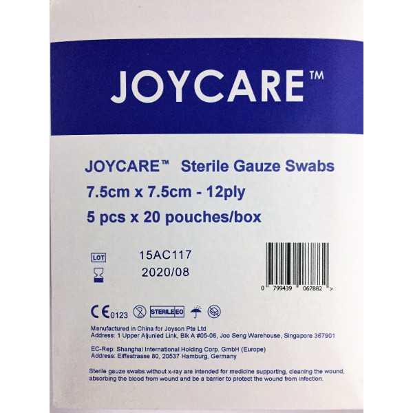 Sterile Gauze Swabs 7.5cm x 7.5cm x12ply (5's x 20 Packs)