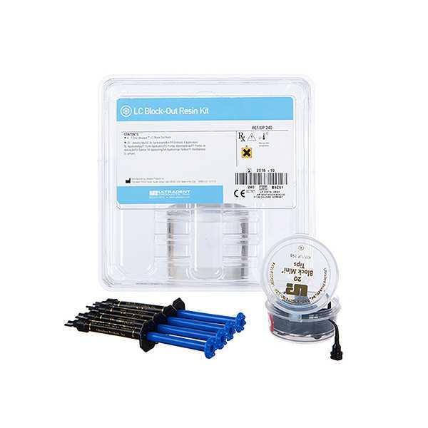 Ultradent® LC Block-Out Resin 4pk Kit (4 x 1.2ml Syringe, 20 x black mini tips)