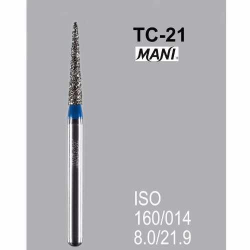 MANI FG Diamond Burs - TC-21 Standard, Taper Conical End (5pcs/pk)
