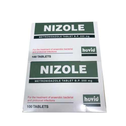 Hovid Nizole Tablet - Metronidazole Tablets B.P. 200mg (100 Tablets/Box)