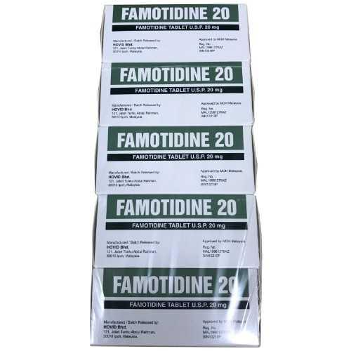 Hovid Famotidine 20mg Film-Coated Tablet (100 Tablets/Box)