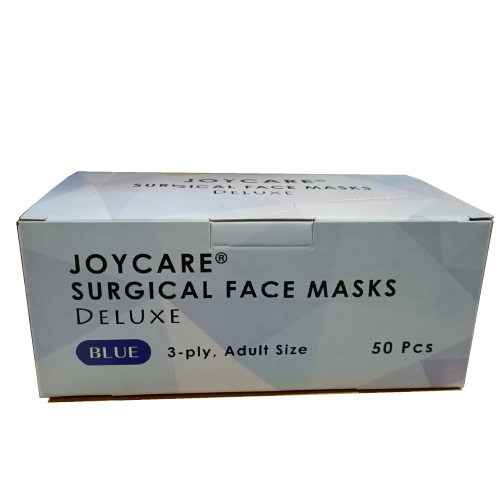 Joycare 3-Ply Surgical Face Masks - Elastic Ear Loops, Deluxe, Blue (50pcs/box)