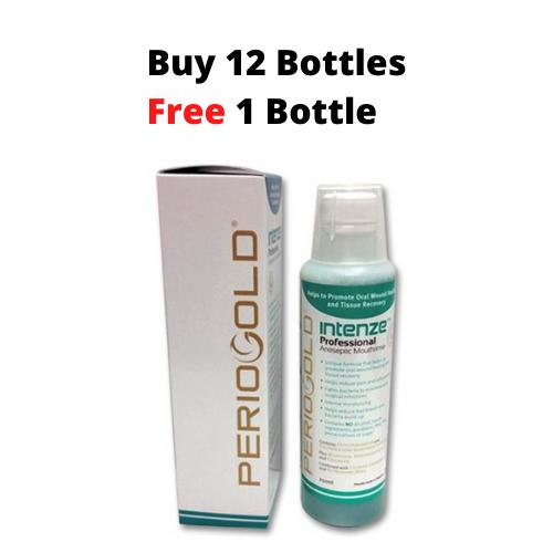 PROMO 12+1 FREE: Periogold Intenze Professional Antiseptic Mouthrinse/Mouthwash - Cetylpyridinium Chloride 0.05%  (250ml)