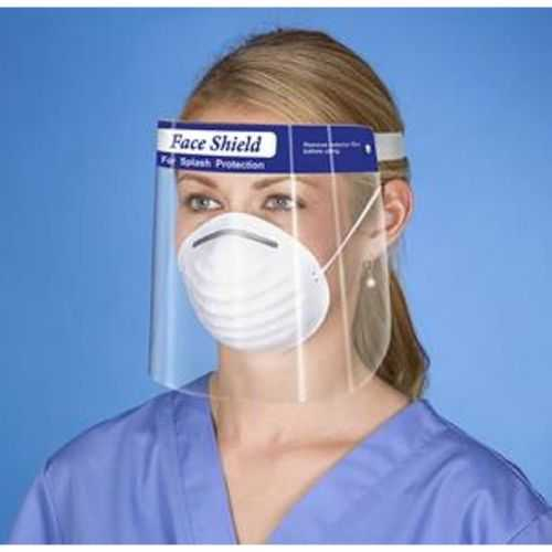 Adult Clear Wide Disposable Face Shield - Blue