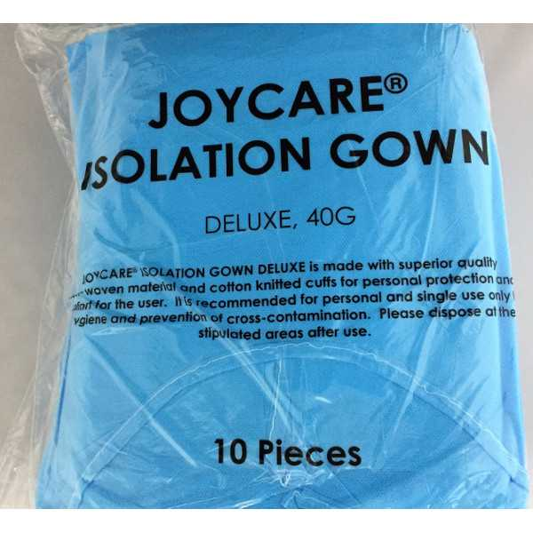 PROMO 10 Packs: Isolation Gowns Deluxe - Blue, Non-woven, Cuffs, 40gm (10 pieces/pk)
