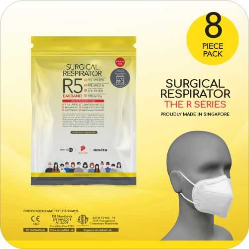 Surgical Respirator R5 Earband Mask FFP2 - Size M, 5 Ply (8pcs)