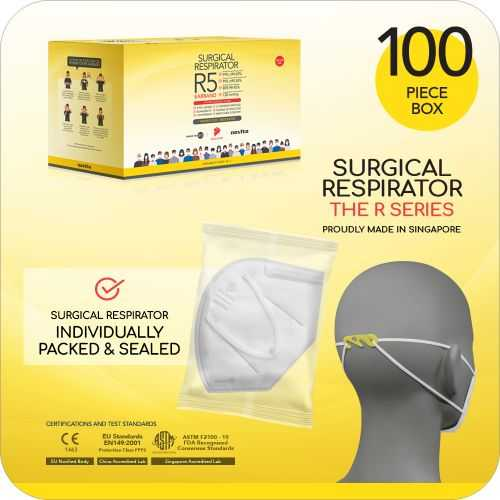 Surgical Respirator R5 Earband Mask FFP2 - Size L, 5 Ply (100pcs)