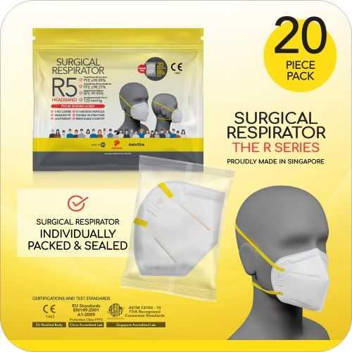 Surgical Respirator R5 Headband Mask FFP2 - Size L, 5 Ply (20pcs)