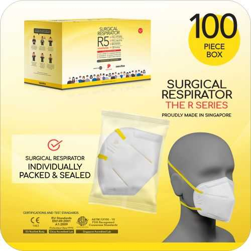 Surgical Respirator R5 Headband Mask FFP2 - Size L, 5 Ply (100pcs)
