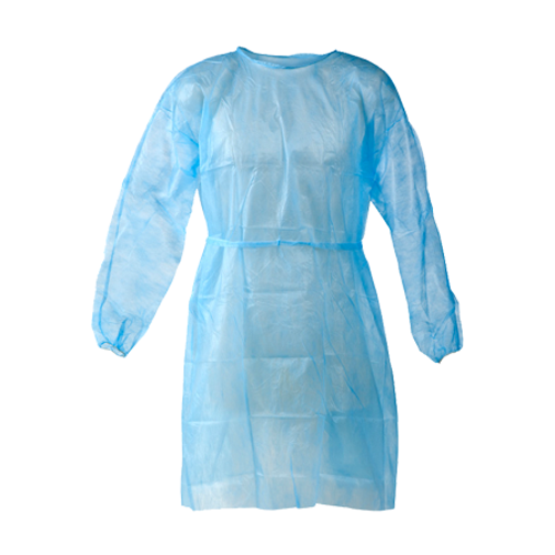 Disposable Isolation Gowns Knitted Cuff, 30gsm, Blue, Medium (10 Packets x 10pcs/pk)