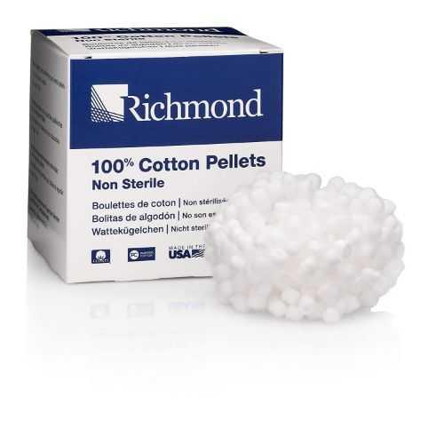 Richmond Cotton Pellets - Non-Sterile, Size 2, 5.5mm Dia (2000pcs/box)