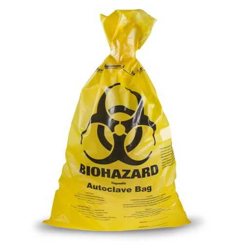 Autoclavable Yellow Biohazard Bags - 457mm x 635mm, Size S