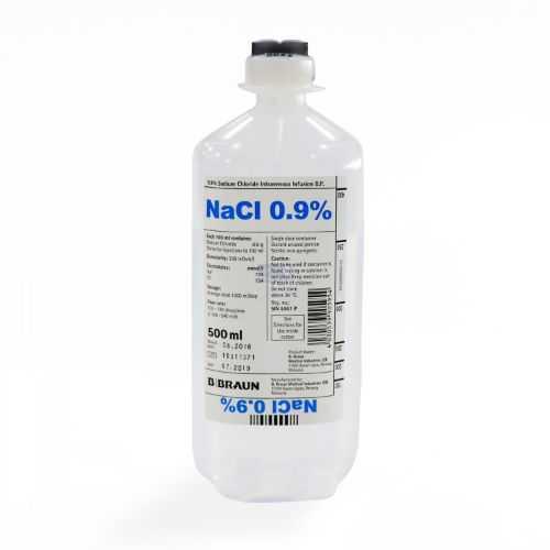 B.Braun Sodium Chloride 0.9% Intravenous Infusion BP - Soft Bottle (500ml) Saline Water